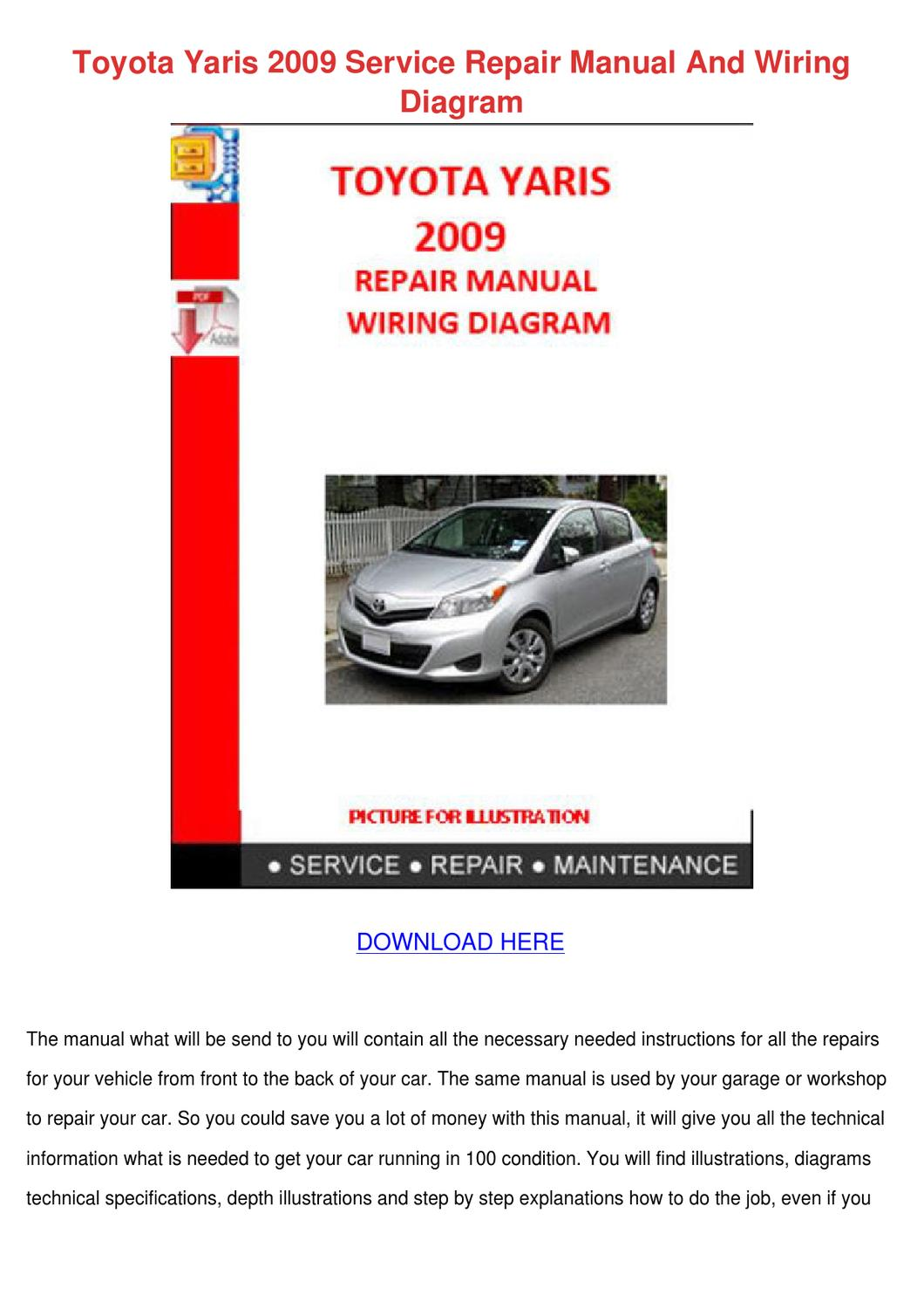 toyota yaris where to find the manual