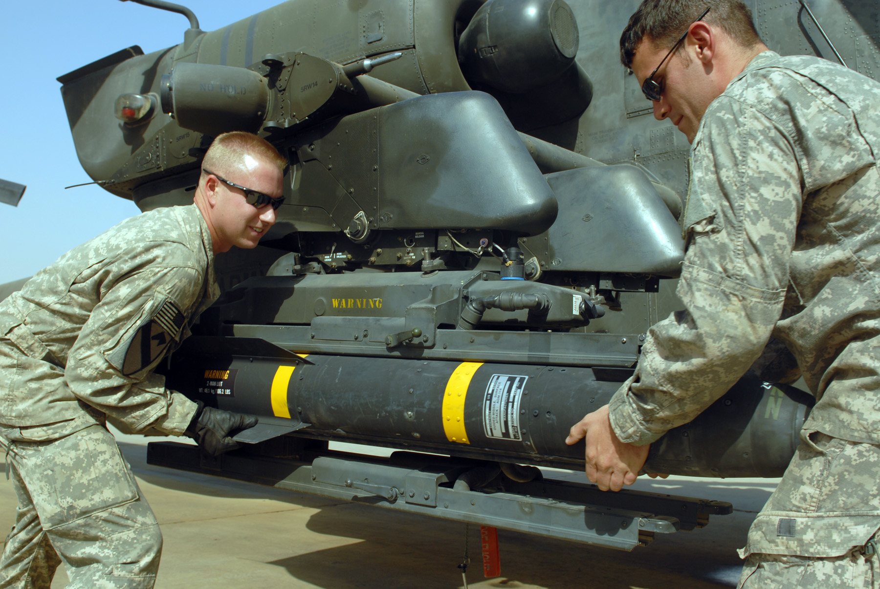 missile manually drop from helicopter