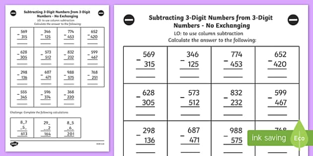 Subtraction worksheets year 3 pdf