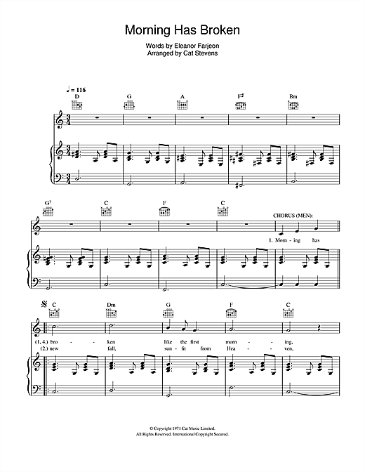 Morning has broken piano sheets pdf