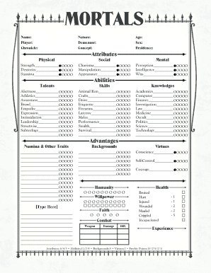 Form-fillable pdf character sheets by neceros
