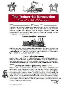 Inventions of the industrial revolution worksheet pdf