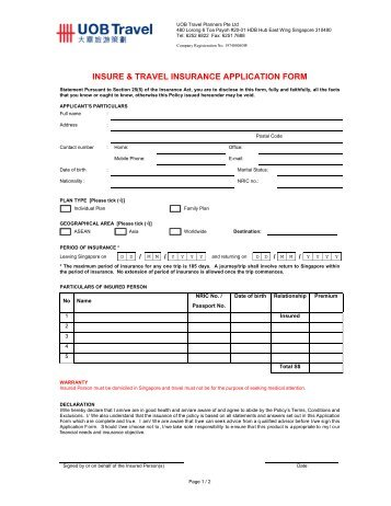 Application for insurance at unisuper form