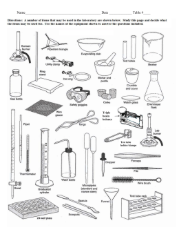 Biology lab equipment list and pictures pdf